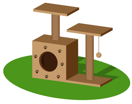 Jungle gym for cats with cat house and scratching post. Isolated pet supply. Realistic illustration of cat furniture on white background. Vector illustration