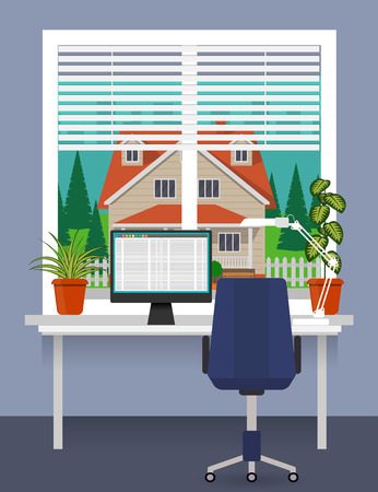 Home workplace at the window with desk, computer, desk lamp. Room plants in pots on the windowsill. Blinds on the window. Beautiful private house outside. Vector illustration in flat style