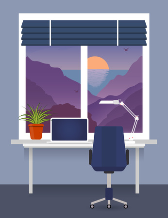 Home workplace at the window with desk, laptop, desk lamp. Room plant in pot on the windowsill blinds on the window. Mountains, sea, sunset outside vector flat illustration.
