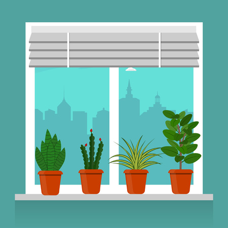 Room plants in pots on the windowsill. Blinds on the window, cityscape outside the window vector illustration in flat style.