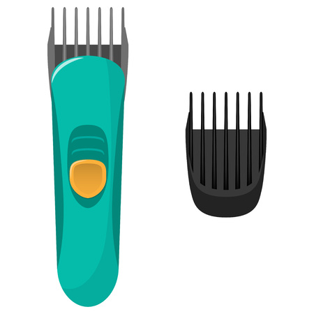 Modern electric hair clipper and the original replacement air nozzle for it vector flat illustration, isolated on white background.