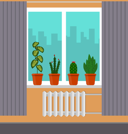 Big window with curtain and plants in pots on the windowsill. City outside the window vector illustration in flat style.