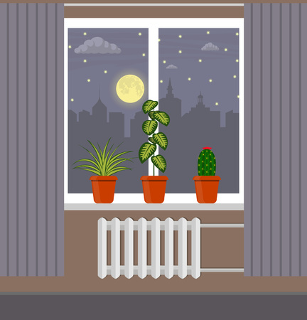 Big window with curtain and plants in pots on the windowsill. Night city, moon, clouds and stars outside the window vector illustration in flat style. Illustration