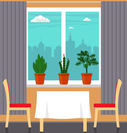 Big window with curtain and plants in pots on the windowsill, table with white tablecloth and two chairs in the foreground. City outside the window. Vector illustration in flat style