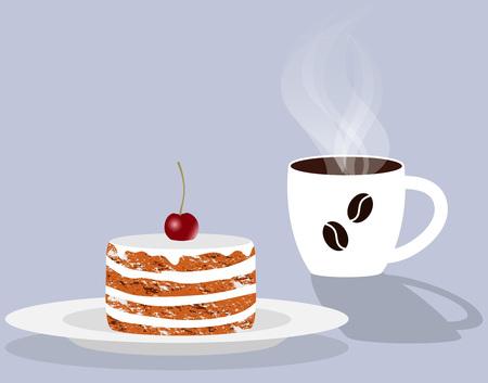 Tazza di caffè fumante profumato e torta con ciliegia su un piattino. Illustrazione vettoriale in stile piatto