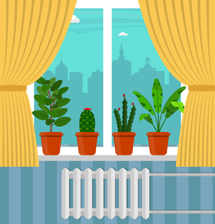 Big window with curtain and plants in pots on the windowsill. City outside the window. Vector illustration in flat style Illustration