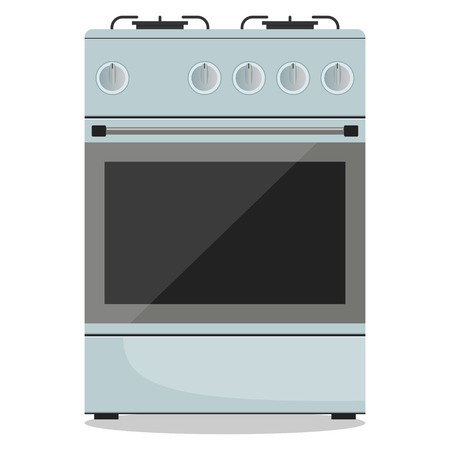 Modern gas stove, front view. Vector illustration in flat style