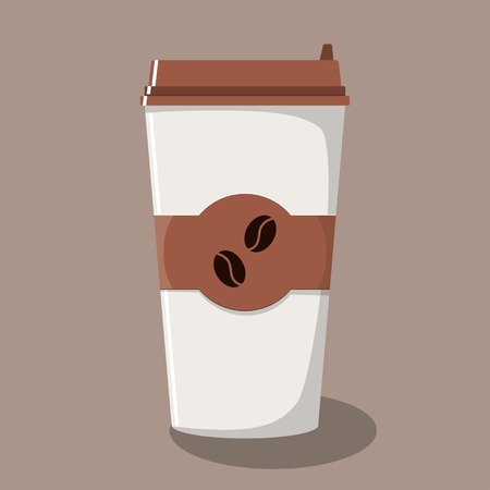 Paper coffee Cup with lid and emblem with coffee beans. Take-away coffee. Coffee to go. Vector illustration in flat style 向量圖像