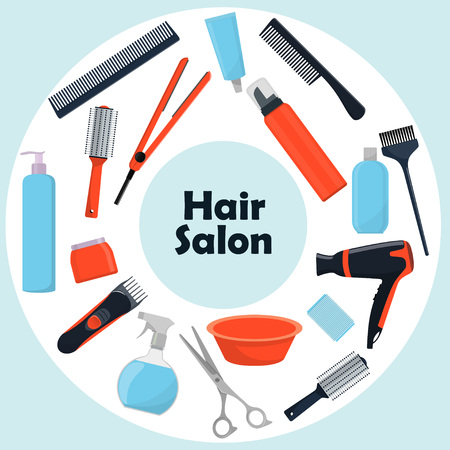 Tools and cosmetic products for hair care. Professional hairdressing tools. A set of elements for a beauty salon.