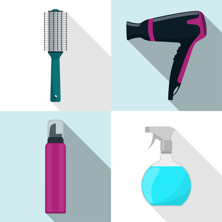 Hairdresser tool icons, set. Hair dryer, hair brush, spray, mousse. Profession hairdresser symbols with long shadows.