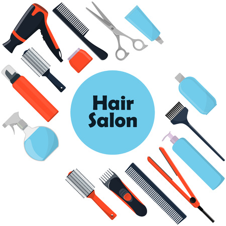 Hair salon concept. Tools and cosmetic products for hair care. Professional hairdressing tools. A set of elements for a beauty salon. Vectores