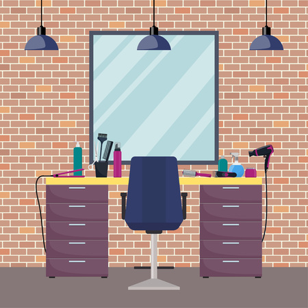 Hairdresser's workplace in woman beauty hairdressing salon. Flat style vector illustration Çizim