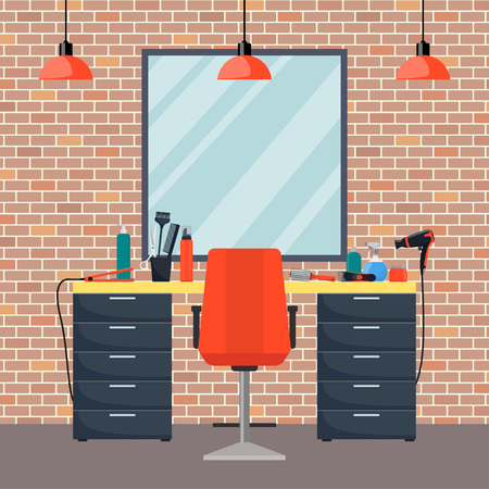 Hairdresser's workplace in woman beauty hairdressing salon. Flat style vector illustration