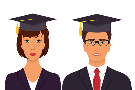Students graduation avatars. Man and woman in graduation caps. Vector illustration in flat style