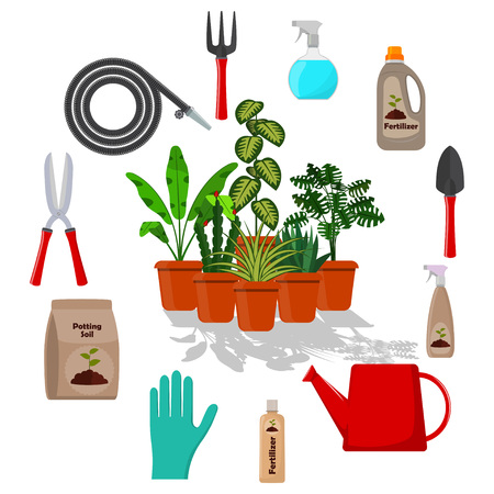 Potted plants surrounded by garden tools. Set of gardening tools, potting soil, various fertilizers in bottles. Vector illustration in flat style