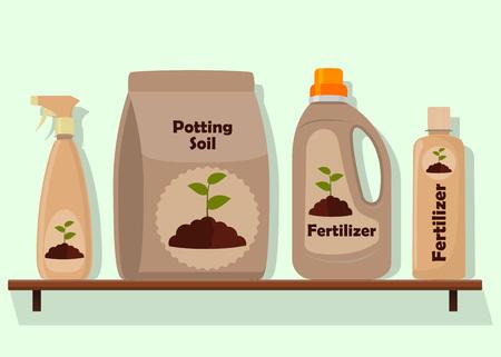 Inpakken met aarde voor potplanten. Potgrond, verschillende meststoffen in flessen en spuitpistool. Vectorillustratie in vlakke stijl