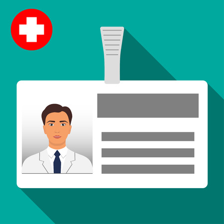 Doctor's name tag badge. Plastic horizontal badge with clasp. Medical worker s name card icon with shadow. Vector illustration in flat style