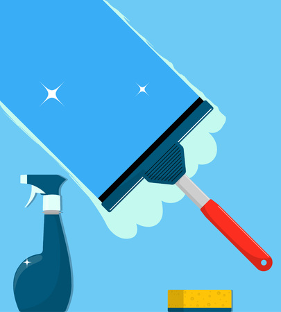 Window cleaning. Glass scraper glides over the glass, making it clean. Spray glass cleaner and a sponge. Window cleaning service concept. Vector illustration in flat style