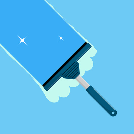 Window cleaning. Glass scraper glides over the glass, making it clean. Window cleaning service concept. Vector illustration in flat style