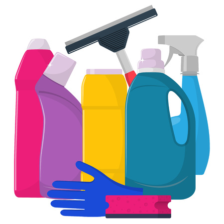 The bottles of detergent, washing powder, detergent powder, bottle of spray, cleaning sponge, cleaning brush, glass scraper. Cleaning services concept. Flat style, vector illustration. Illustration