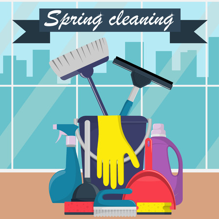 Spring cleaning concept. Bucket, scoop and brush for sweeping, washing powder, bottle of spray, sponge, brush, glass scraper, rubber gloves. Big window and city on background. Vector illustration Vectores