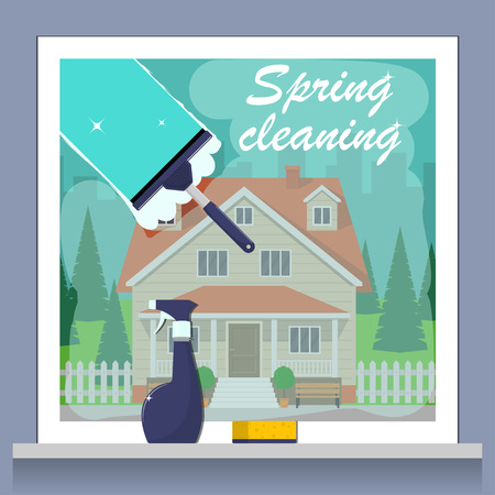 Window cleaning. Spring cleaning concept. Glass scraper glides over the glass, making it clean. Spray glass cleaner and a sponge. Private house and green lawn outside the window. Vector illustration Vectores