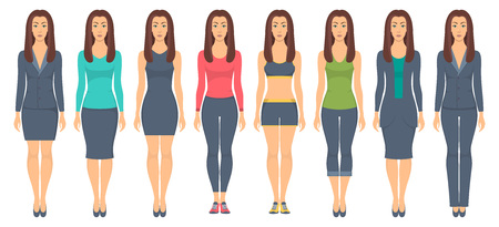 Beautiful young woman standing in full growth in different clothes, formal, business, everyday, sports vector illustration.