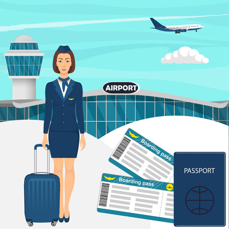Travel concept with stewardess woman in blue uniform with suitcase, flight tickets, passport, airport building, airplane in the sky on background. Vector illustration