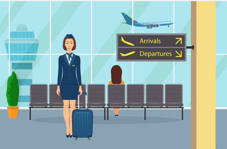 Stewardess in uniform with a suitcase standing in waiting room at the airport seat vector illustration.