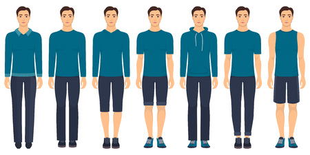 Young man standing in full growth in different clothes, formal, business, everyday, sports vector illustration.