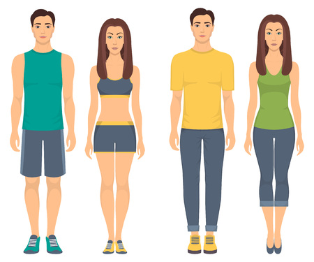 Couples in sportswear. Young men and women standing in full growth in different sports clothes for exercises in gym, running, fitness. Vector illustration, isolated
