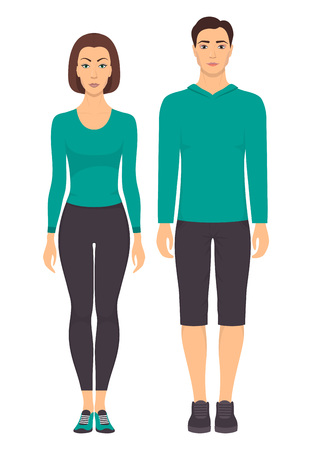 Couple in sportswear. Young man and woman standing in full growth in sports clothes for exercises in gym, running, fitness. Vector illustration, isolated