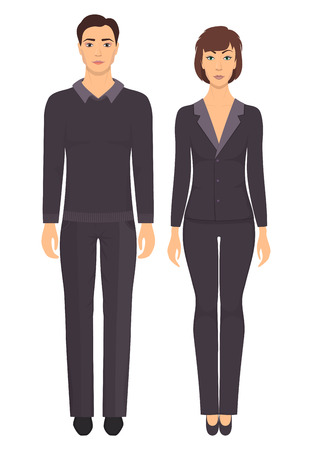 Man and woman standing in full growth in formal clothes. Couple in elegant and casual clothes. Basic wardrobe. Vector illustration, isolated