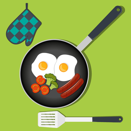 Traditional Breakfast. Scrambled eggs with vegetables and sausage on frying pan. Vector illustration in flat style Illustration