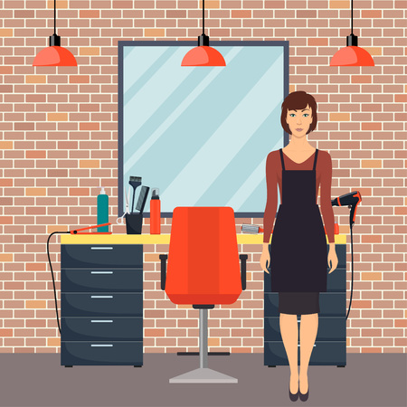 Hairdresser in modern hairdressing salon in loft style. Hairdresser waiting for client. Chair, mirror, table, hairdressing tools, hair care products. Barber shop interior. Flat vector illustration Vettoriali