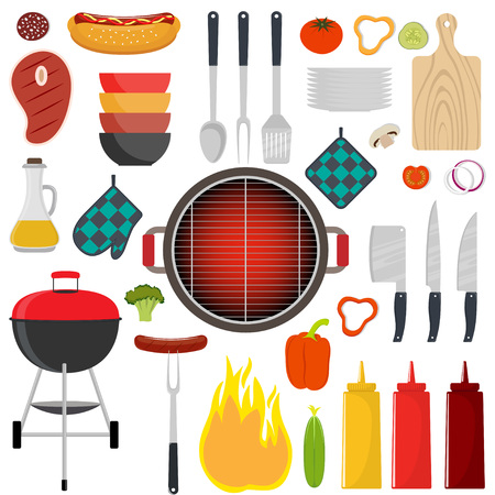 Barbecue party tools and food. Grilled meat, steak, sausage, vegetables. Vector illustration in flat style