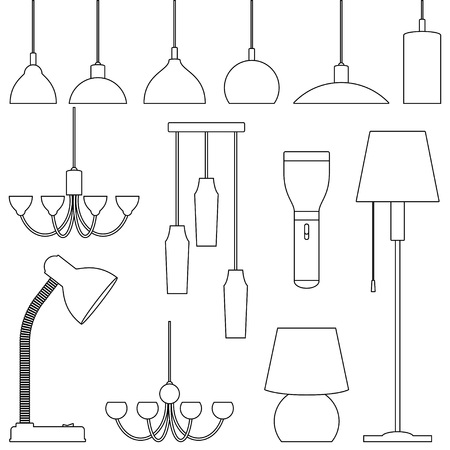 Lamps of different types, set. Line art illustration