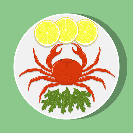 Big red crab on white plate with lemon slices and herbs. Vector flat illustration