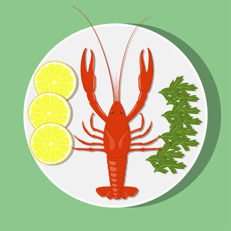 Big red lobster on white plate with lemon slices and herbs. Vector flat illustration