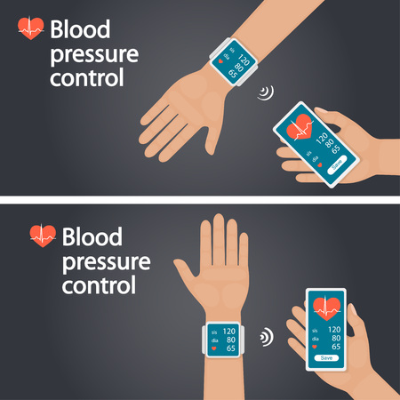 Measurement and monitoring of blood pressure with modern gadgets and mobile applications. Man checking arterial blood pressure with digital device tonometer. Horizontal banner, vector
