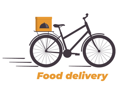Food delivery design. Bicycle with box on the trunk. Food delivery service logo. Fast delivery. Flat vector illustration Иллюстрация