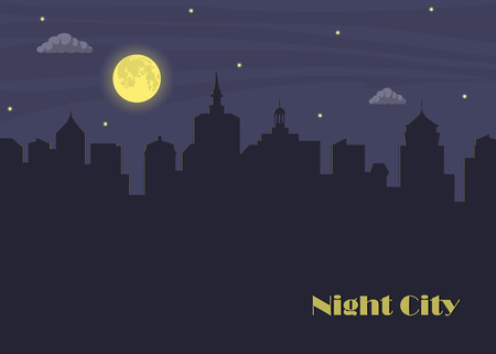 Night city and moon. Dark urban scape in moonlight. Night cityscape in flat style with place for text, abstract background. Vector illustration
