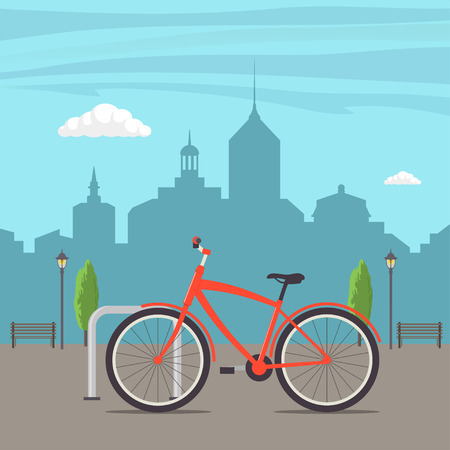 Bicycle Parking on a city street. Bike on urban background. Cute red bicycle, parked in the city, with skyscrapers in the background, trees, lights and benches. Vector flat illustration