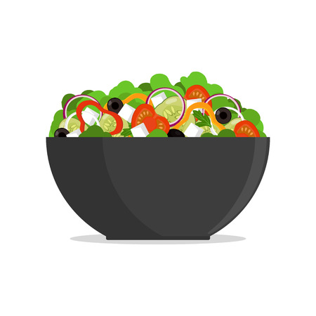 Fresh greek salad in big bowl, side view. Tomato, sweet pepper, onion, greens, cheese, olives, cucumber, mixed in plate Vector flat illustration Ilustracja