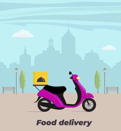 Ilustración de concepto de servicio de entrega de alimentos. Moto con caja de comida en el maletero. Gran ciudad de fondo. Ilustración vectorial plana Ilustración de vector