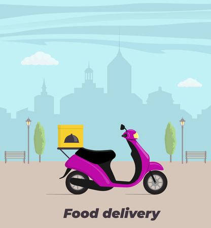 Food delivery service concept illustration. Motorbike with food box on the trunk. Big city on background. Vector flat illustration