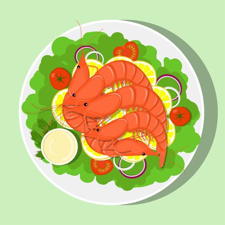 Royal shrimps with lemon slices, lettuce leaves, onion, tomatos, sauce. Vector flat illustration