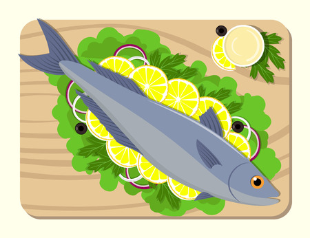 Fish on a cutting board with lemon slices, lettuce leaves, onion, sauce, parsley. Cooking of salmon. Vector flat illustration