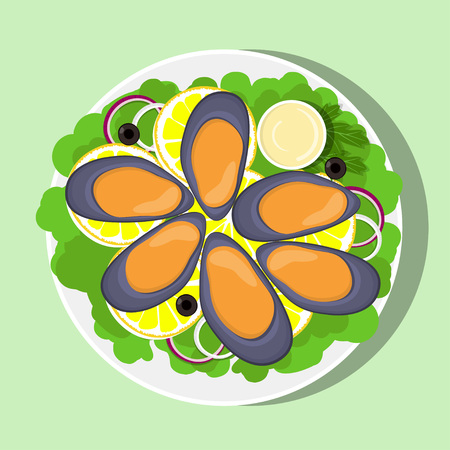 Mussels, lemon slices, lettuce leaves, onion and sauce on white plate, top view. Fresh seafood. Vector flat illustration