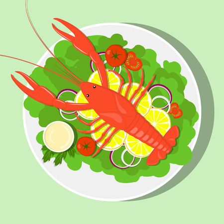 Big red lobster on white plate with lemon slices, lettuce leaves, onion, tomatos, sauce. Vector flat illustration